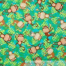 BonEful Fabric FQ Cotton Quilt Blue Green Leaf Brown Banana Monkey Baby Tropical