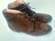 24194264754 Barneys New York Brown Suede Wingtip Laceup Ankle Boots Womens Size 9.5  Italy