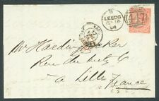 Great Britain 1864 entire Leeds to France 4d sg.81 Plate 4