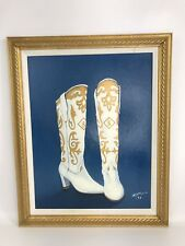 Vintage Oil Painting On Board Western Cowgirl Boots Blue White Gold