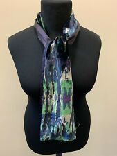 Velour and Satin Blue, Green and Purple Patterned Neck Scarf