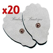 20 Large Snap-On Electrode Pads (10 Pairs) For Digital TENS/EMS Machines