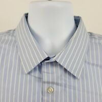 Banana Republic Non Iron Slim Fit Blue Striped L/S Casual Button Shirt Sz XL