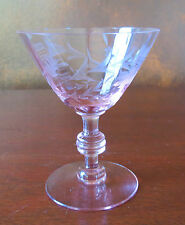 Fry FRY72 Shape #1 Pink Gray Cut Floral Liquor Cocktail Goblet(s)
