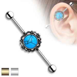 1pc Turquoise Lacey Filigree Industrial Barbell - choose Silver or Gold Edge