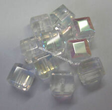 10 x 10mm Disco Square Crystal AB Glass Beads Beading Bead & Jewellery GB1058