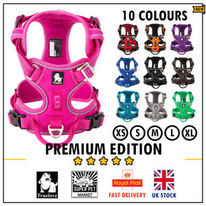 Dog Harness Truelove No-Pull Strong Adjustable Fuchsia Black Blue XS S M L XL