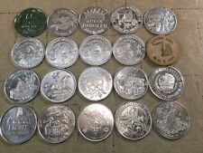 LOT of 20 Vintage MARDI GRAS DOUBLOON Aluminum & Wood Coins 1980s [KG01]
