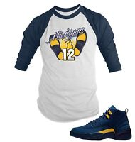 """Tee Shirt to Match Air Jordan 12 """"Michigan"""" Shoe Big and Tall or small Graphic T"""