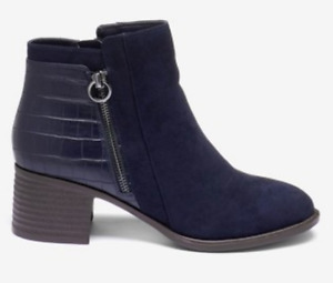 The Next Best Comfort Block Heel Ankle Boots in Navy Size 3 - 6.5