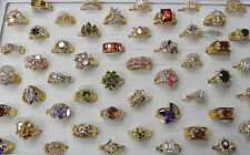 20pcs Fashion Wholesale Mixed Lots Charming Shining CZ Gold P Lady's Rings EH369