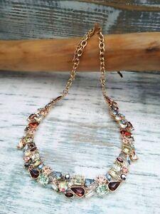Anthropologie Multi-Coloured Geometric Crystal-Embellished Necklace