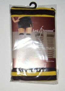 Opaque Stripe Thigh High Stocking Yellow Black LEG AVENUE OSFM Costume Halloween