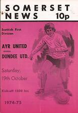 Football Programme - Ayr United v Dundee United - Div 1 - 19/10/1974