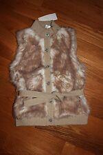 NWT Gymboree Fashionable Fox Size 5 6 Tan Gem Button Faux Fur Sweater Vest