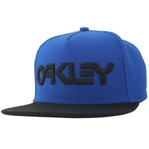 Oakley Typhoon Cap Mens Blue Black Flat Peak Snapback Adjustable Baseball Hat