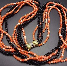 Old Estate CORAL & ONYX Bead 5-Strand NECKLACE Sapphire & Diamond 14K GOLD Clasp