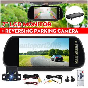 7'' LCD Mirror Monitor + 4 LED Rear View Reverse Parking Camera Night Vision Kit