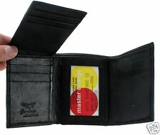 New Men Trifold Genuine Leather Wallet Multi Pockets Black Credit Card ID Window