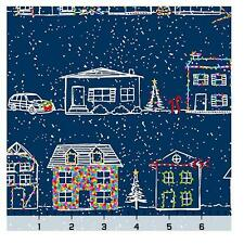Christmas Fabric - Naughty or Nice Home Stripe Blue - Quilting Treasures YARD
