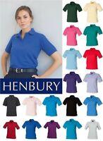Henbury - Ladies Poly/Cotton Pique Polo Shirt - Various Colours - SIZES 8-20