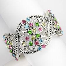 Fashion Bridal Wedding Party Crystal Bangle Bracelet Multi-color Stretch Jewelry
