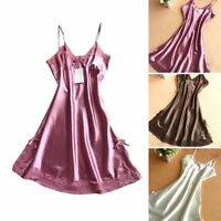 Women's Ladies Night Dress Nightgown Satin Silk Lace Lingerie Pajamas Sleepwear