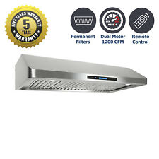 "48"" Under Cabinet Kitchen Range Hood, 1000 CFM Dual Motor, Stainless Steel, LEDs"