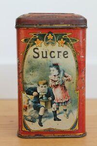 Ancienne Boite Tole Lithographiée Chicorée à l'Ecolière Sucre Leroux Orchies