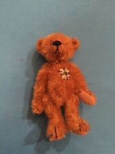 "Deb Canham "" Elliot A Miniature Light Brown Mohair Bear -3 3/4""-With Patch"