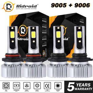 LED Headlight High Low Beam Bulbs 9005 9006 Combo 6000K Clear Cool White 4PCS