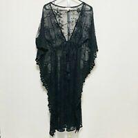 UMGEE Womens Black Sheer Floral Lace Long Kimono Ties At Waist Sz S Robe Coverup