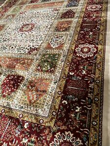 """QUALITY ORIENTAL SILKY SOFT TOUCH  Cream/Red Multicoloured  300x400 Cm 10'x13'3"""""""