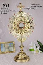 "Ornate Brass Monstrance Reliquary for  Church or Home Altar 20.08"" High X91"