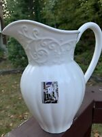 Large White Ceramic Water (or wine) Pitcher Made In Portugal