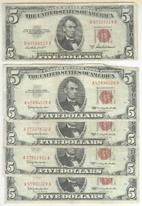 Lot of 5 - $5.00 Red Seal United States Notes + 1953 & 1963 + No Reserve!