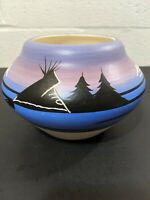 Navajo American Indian Pottery Signed Blue Purple Mountain Scene Pot Vase Etched
