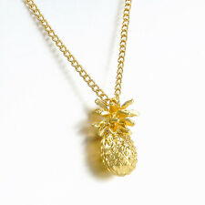 Tiny Pineapple Fruit Cute Charm Long Chain Necklace Summer Jewelry Gold Plated