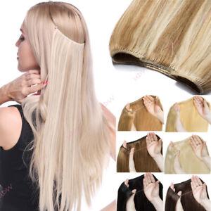 Echthaar Unsichtbar Draht in Haarverlängerung Secret Hidden Extensions Stirnband