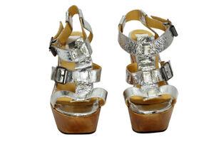 Lanvin Silver Crinkle Leather Platform Sandals | Womens Size 39