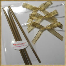 "25pcs x (6"" Gold Lollipop Stick + Bag + Gold Bows) for cake pops"