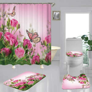 Pink Rose Butterfly Bath Mat Toilet Cover Rugs Shower Curtain Bathroom Decor