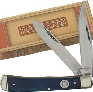 Rough Rider Blue Smooth Bone Trapper Pocket Knife RR1947