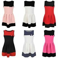 Girls Bow Textured Skater Dress Casual Sleeveless Summer Party Top Skirt 3-14 Y