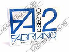 FABRIANO - DISEGNO 2 - F2 - 110 g/mq LISCIO - 24x33cm - BLOCCO 12FG A 4 ANGOLI