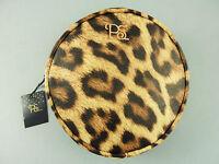 Leopard Damen Clutch Schminktasche Rund Handtasche Makeup Kosmetiktasche Primark