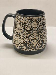 OPALHOUSE Stoneware Large Base Mug Cup Dark Brown & Cream Lace Boho Design 24oz