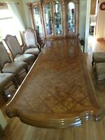 Vintage Antique Carved Walnut Inlaid Dining Set Table 8 Chairs 4'X8'(X10'X12')