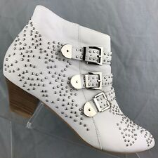 Jeffrey Campbell Starburst White Studded Leather Zip Bootie Buckles Size 10 M