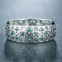 Elegant Women Wedding Ring 925 Silver Jewelry Round Cut Emerald Ring Size6-10